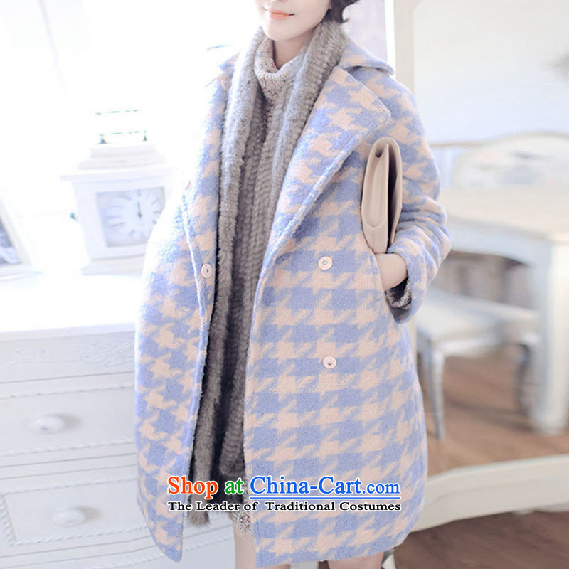 Charlene Choi Tysan 2015 autumn and winter new liberal video thin double-in long lapel a jacket female latticed cocoon Korean-style modern small wind-version wool coat picture color S?