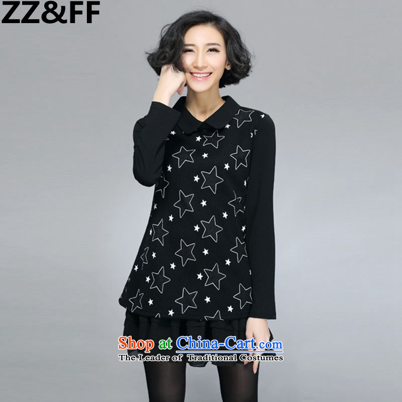 The autumn 2015 new Zz&ff won 200 catties thick mm trendy code women loose video thin long-sleeved dresses 6011 Black Large XXL