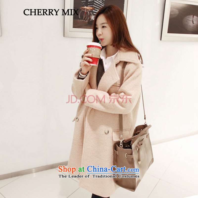 Cherrymix autumn and winter new Korean version of long wool coat female lady? graphics thin OL double-jacket qq8646 gross? picture color M