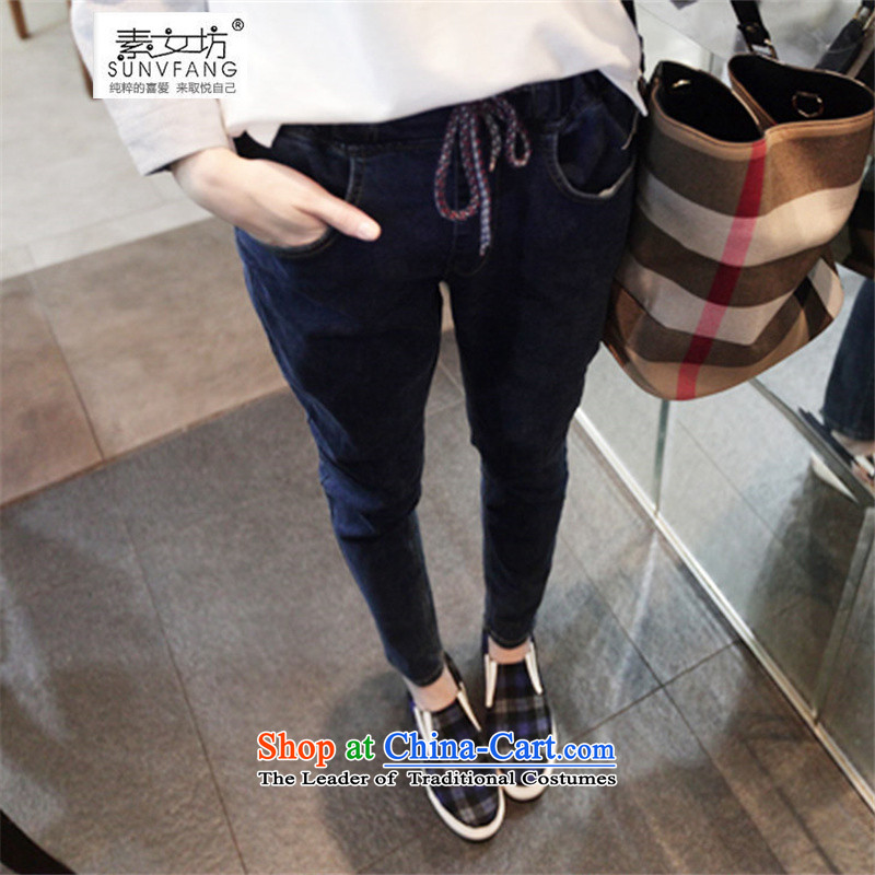 Motome square thick sister jeans�15 new Korean version of large numbers of female 200MM elasticated waist catty thick loose autumn and winter jeans dark blue�L MODEL 6128�5-200 recommended weight catty