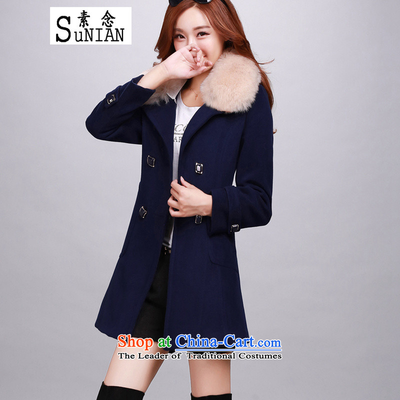The concept of gross coats female 2015 Autumn? Boxed new long-sleeved jacket is     gross in long a wool coat Female European and American Navy L