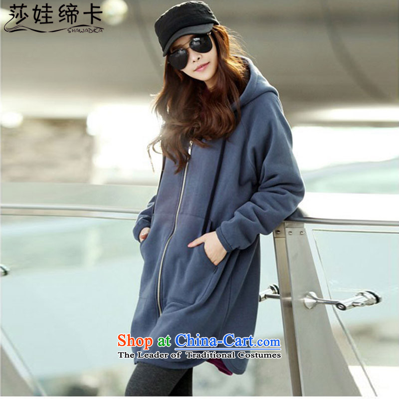 Elisabeth wa concluded card thick large sister sweater cardigan medium to long term for women large jacket for larger female 200 catties to intensify the Korean version of the new large nau thick piece blue large L