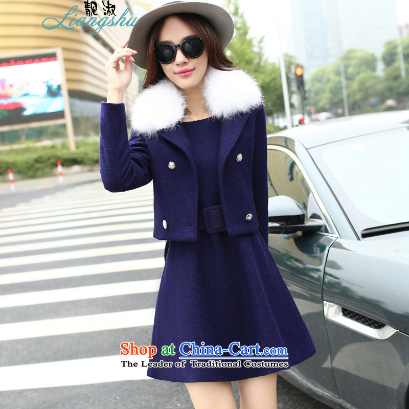 Mrs 2015 autumn and winter so the new Korean fashion gross? dress jacket two kits? coats female breast gross graphics with thin hair for navy L