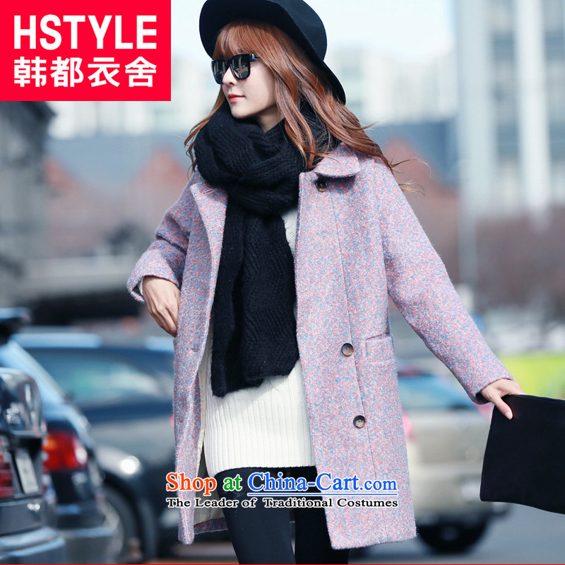 Korea has the Korean version of the Dag Hammarskj?ld yi 2015 winter clothing new products for women and two-tone youth in pure color relaxd long jacket OR4064 gross? restaurant Blue-violet?S