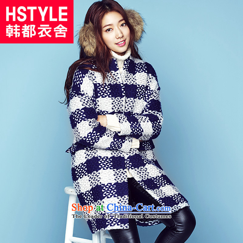 Korea has the Korean version of the Dag Hammarskj鰈d yi 2015 Autumn replacing new products in the Women's Long Sleeve MQ4426 latticed gross?2燽lue and white,燬