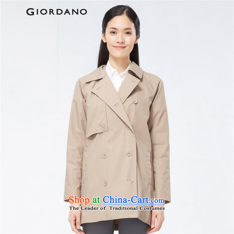 Giordano jacket girls Fall_Winter Collections minimalist solid color for Ms. Sau San in a suit Long Hoodie 05375506 84 new Small Tri-color code _155_84A_ walnuts