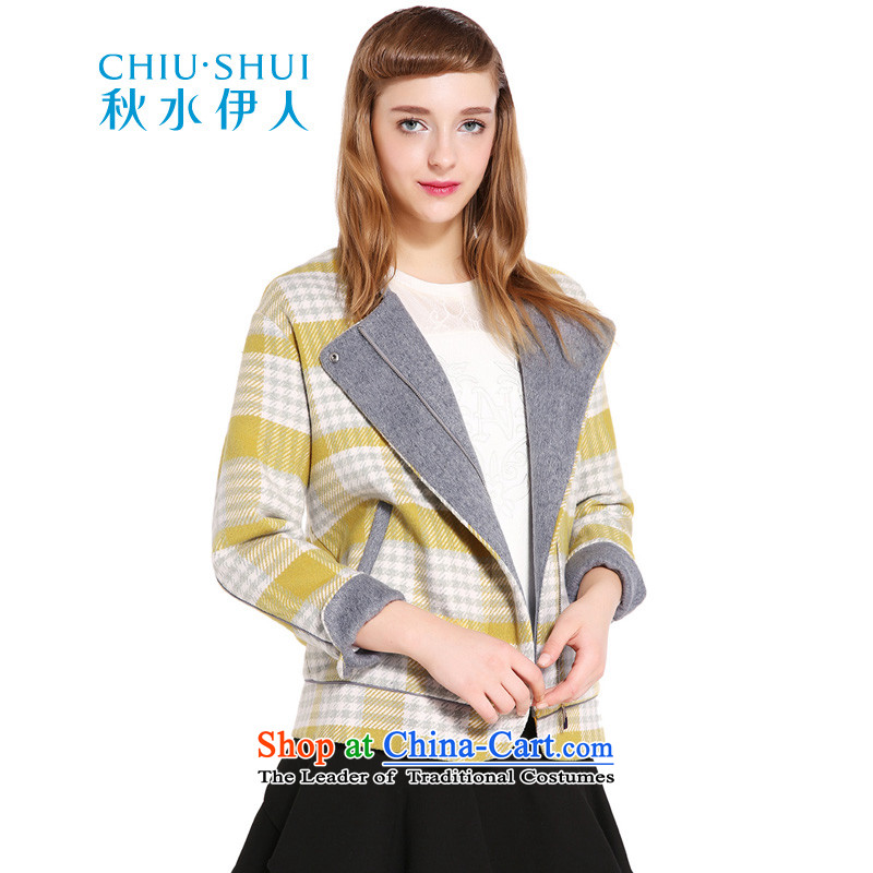 Chaplain who winter clothing new women's stylish plaid in a long yellow jacket�0_84A_M. shirts