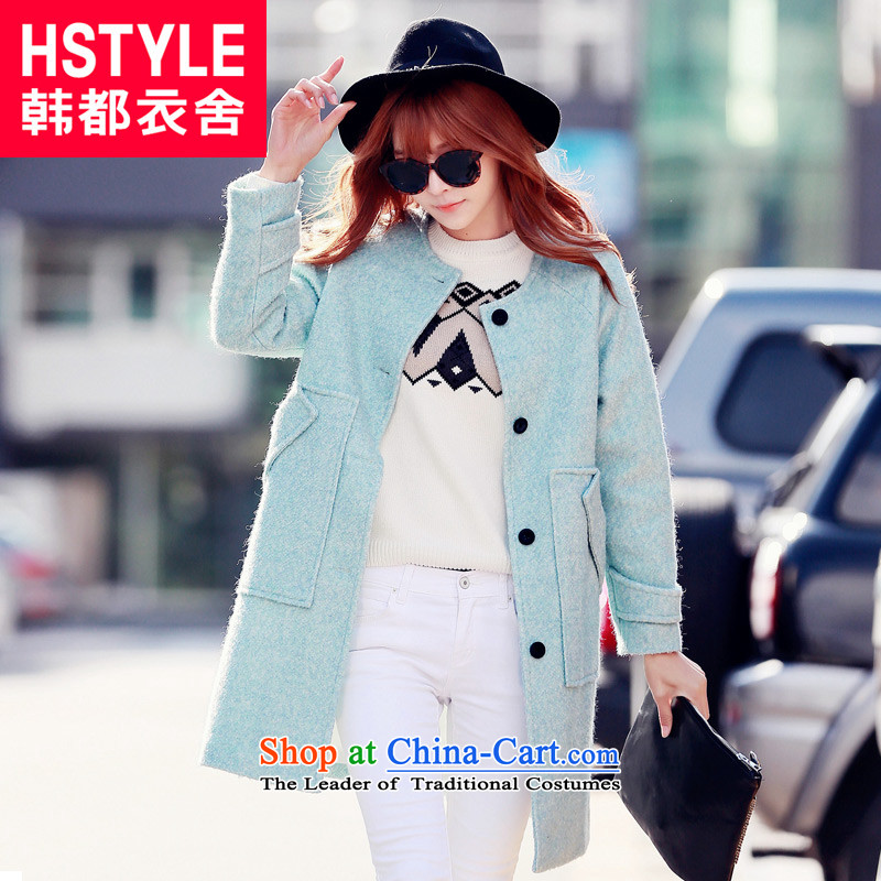 Korea has the Korean version of the Dag Hammarskjöld yi 2015 winter clothing in new women's long hair?6 blue jacket LU5043 M