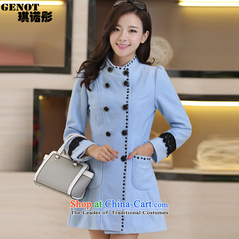 The�15 autumn tung hsin load new Korean girl in the body of the decoration? coats, double-coats female water so gross blue燲XL