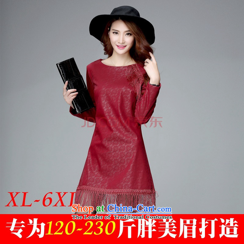 C.o.d. Package Mail 2015 new larger apron to xl round-neck collar lace pattern edging long-sleeved skirt the lint-free warm thick edition wine red 3XL forming the skirt around 155-170 catty