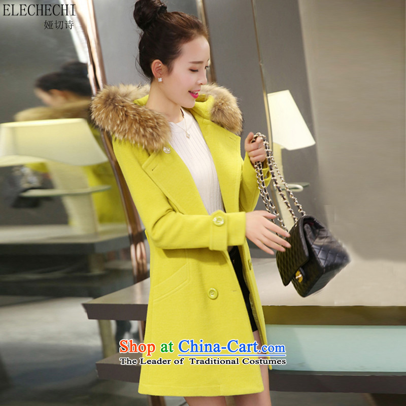 Claudia cut poetry 2015 autumn and winter coats female Korean gross?   in the long version_? Jacket coat Fluorescent Green燣