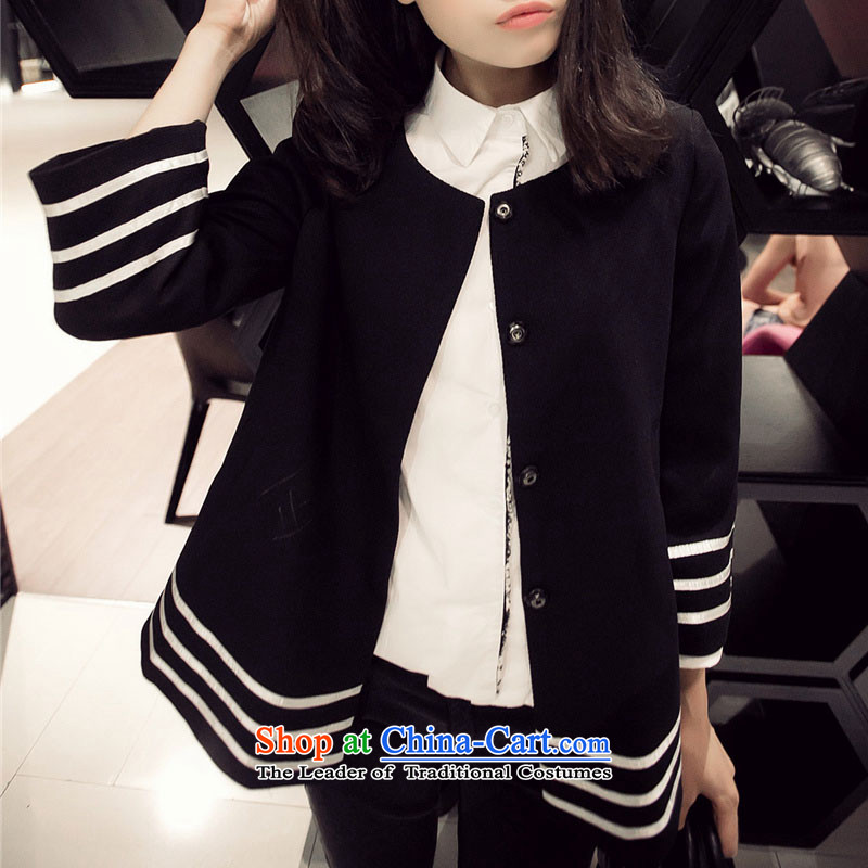 Hiv lemon autumn and winter 2015 replacing larger jacket thick mm new to xl Women Korean loose video thin stripes jacket coat small black large code thick sister XXXXL.