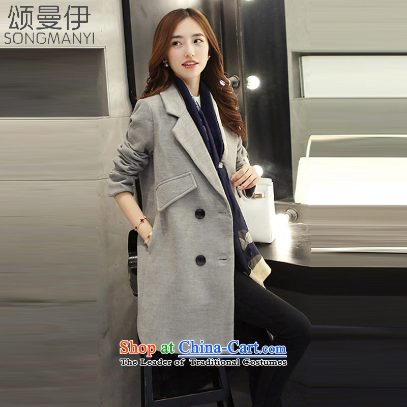 Chung Cayman El聽2015 autumn and winter coats a new girl in long Korean gross flows of coats of Sau San?聽5508聽gray聽S