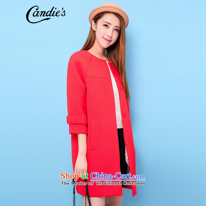 The new winter candie's2015燨-round-neck collar 7,wool fanum Loose Cuff jacket female magenta燬