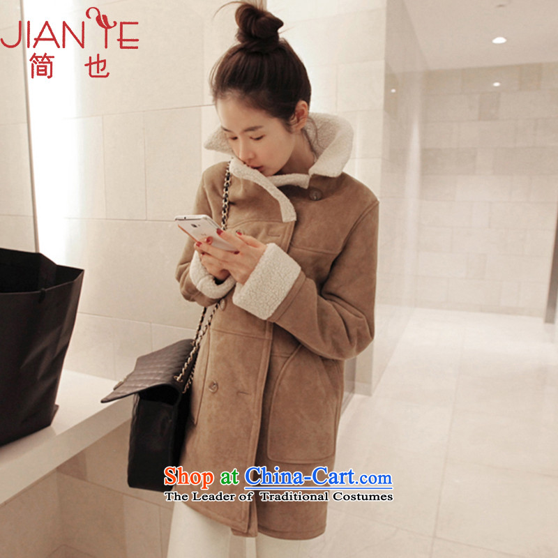 Jane can also fall_winter 2015 new Korean version of Sau San Mao coats of ladies? Chamois Velvet jacket聽light and Color聽M L8807