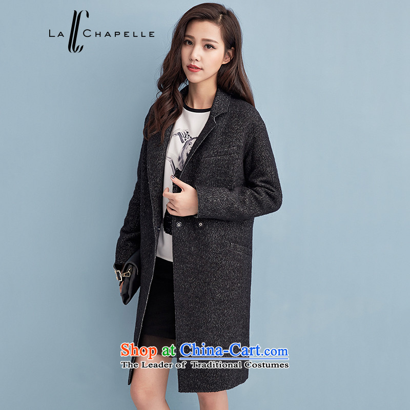 La Chapelle 2015 winter new one grain of detained for long, suit coats female black燬 relaxd