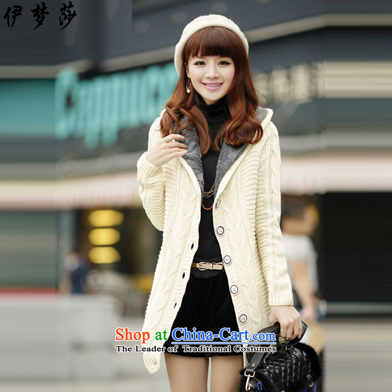 El dream sa 2015 autumn and winter new Korean wild plus lint-free thick twist cardigan sweater cap in Sau San long Sweater Knit-female white jacket are code