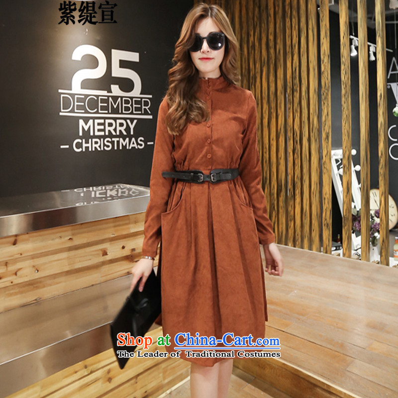 The first declared as thick MM to increase women's code load spring and autumn 2015 new dresses western style skirts Rust Red 6012 long-sleeved 5XL around 922.747 180-195