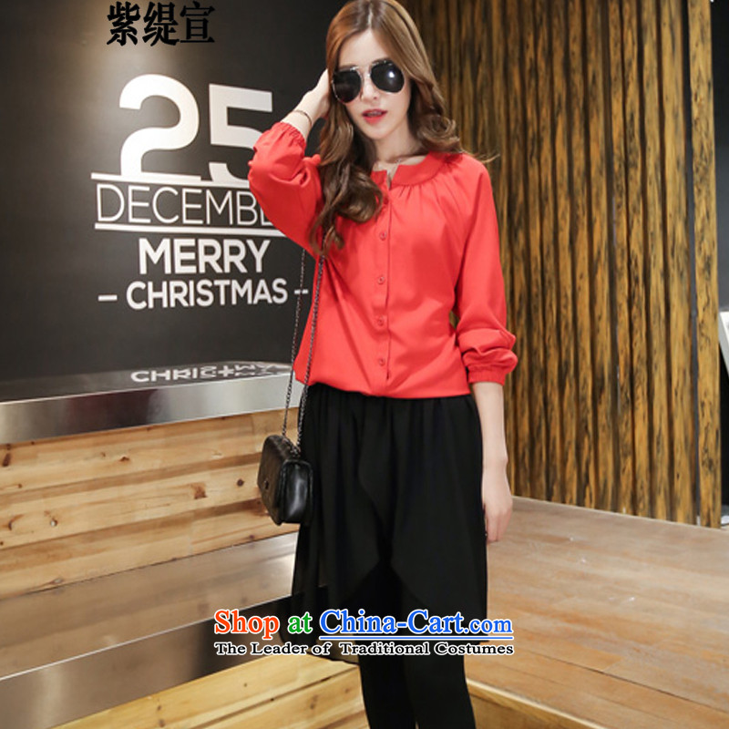 The first declared during the Spring and Autumn for the new economy of thick MM to xl women's two kits 200 long-sleeved shirt catty chiffon shirt + trousers skirt燼round 922.747 180-195 M1808_ 5XL