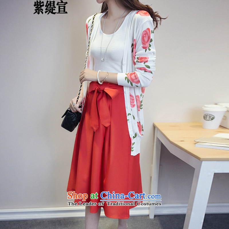 The first declared 2015 Autumn load as the new Fat MM to increase the number of female two-piece knitting cardigan + UPPER BODY燚7358 5XL skirts around 922.747 180-195