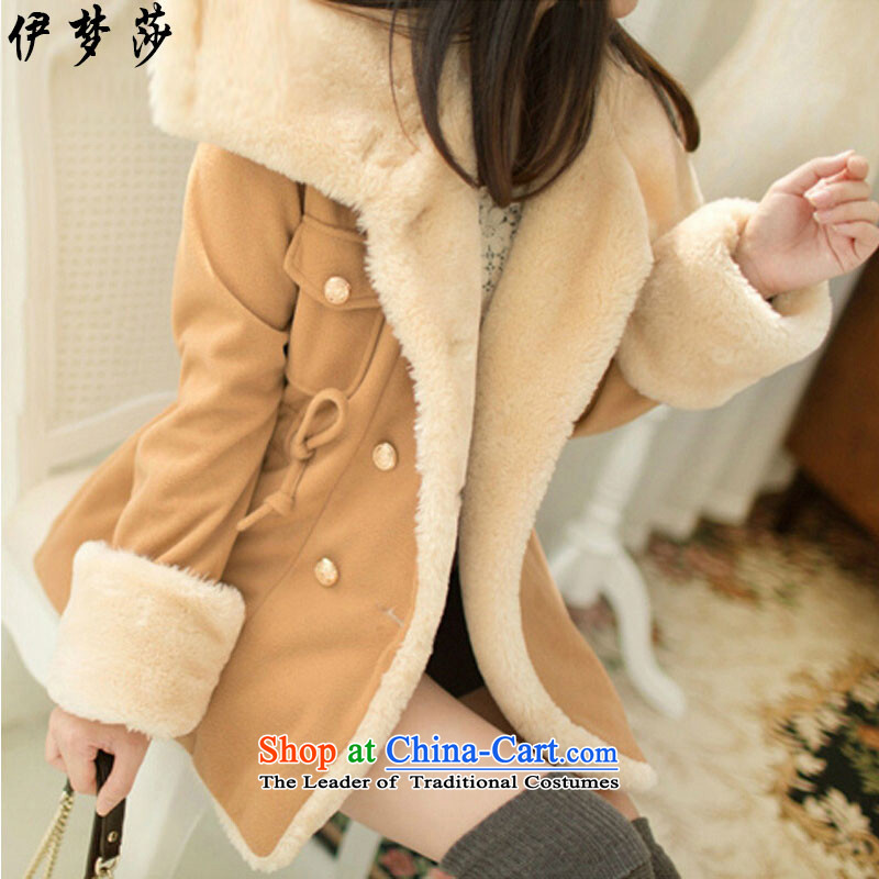 El dream sa2015 autumn and winter new women's add lint-free cotton jacket Korean thick wild large graphics thin double-coats preppy hair?? warm jacket color and femaleL