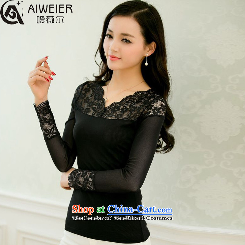 Ms Audrey EU's fragile 2015 autumn and winter new Korean version of Fat MM wire-mesh yarn, forming the Lei shirt larger t-shirts female 26688 black velvet thick聽XXXXL Plus