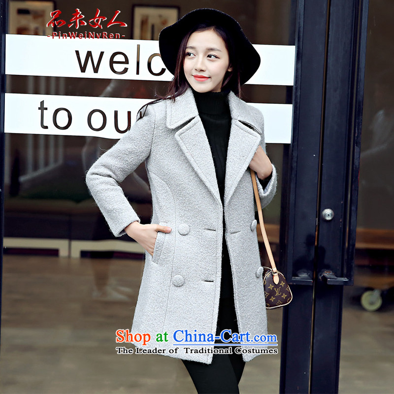 Products not women 2015 autumn and winter new Korean female decorated gross? coat in the body of a wool coat wool coat light gray hair?燤