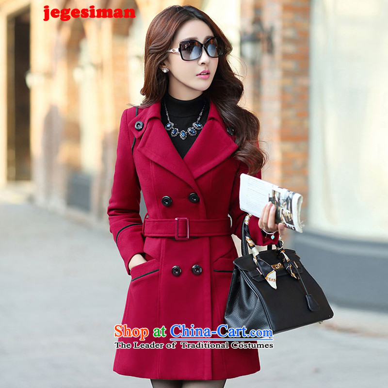 The autumn and winter jegesiman2015 new coats girl Won)? for the graphics in the Sau San long thin hair? 8858 wine red jacket coatL