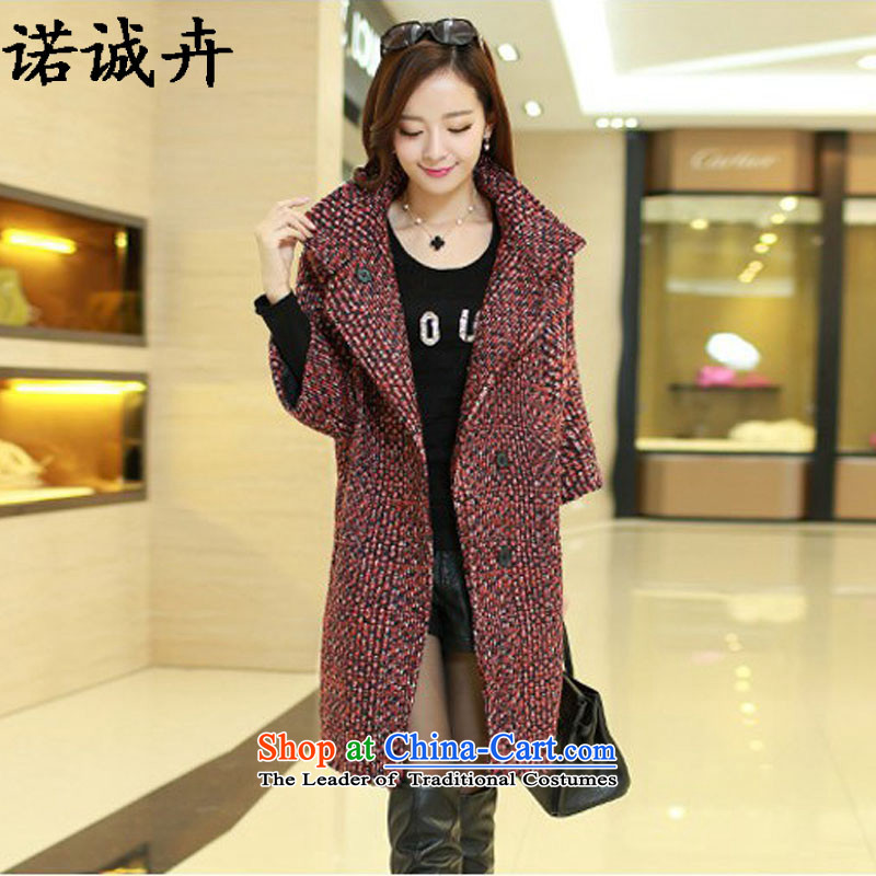 The Shing Hui autumn and winter load new larger women a jacket Korean smart casual relaxd video in the medium to long term, thin hair? coats female black and redHN23 L