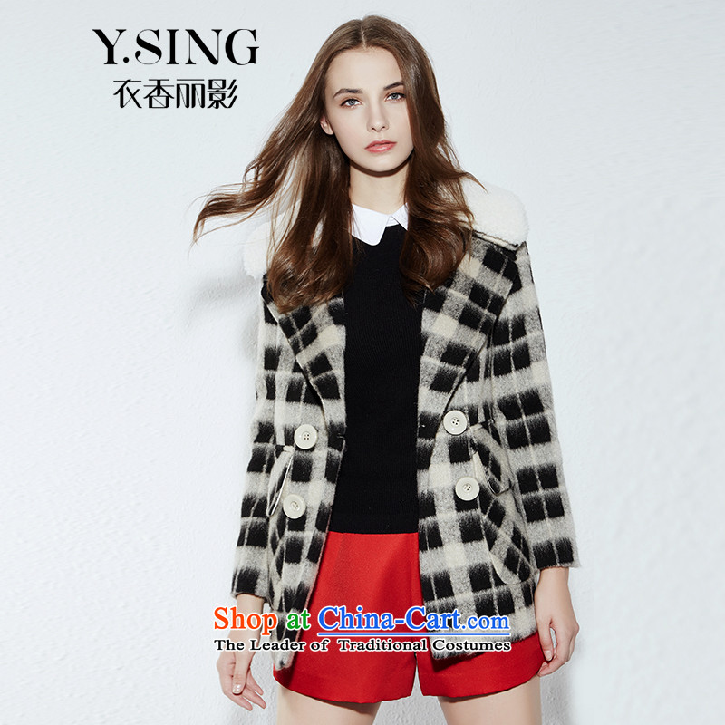 -i- to buy three from Hong Lai Ying聽2015 winter clothing new Korean citizenry elegant grid is a double-black jacket? gross 91 S