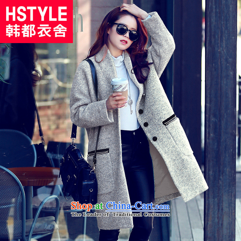Korea has the Korean version of the Dag Hammarskjöld yi 2015 winter clothing in new women's long Straight Single Row clip hair?2 gray jacket EQ4415 S