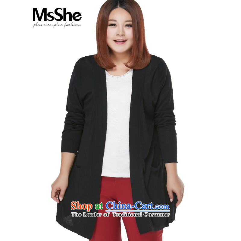 Msshe xl women 2015 new autumn replacing thick MM minimalist jacket stitching chiffon knitting cardigan 2569th�L black