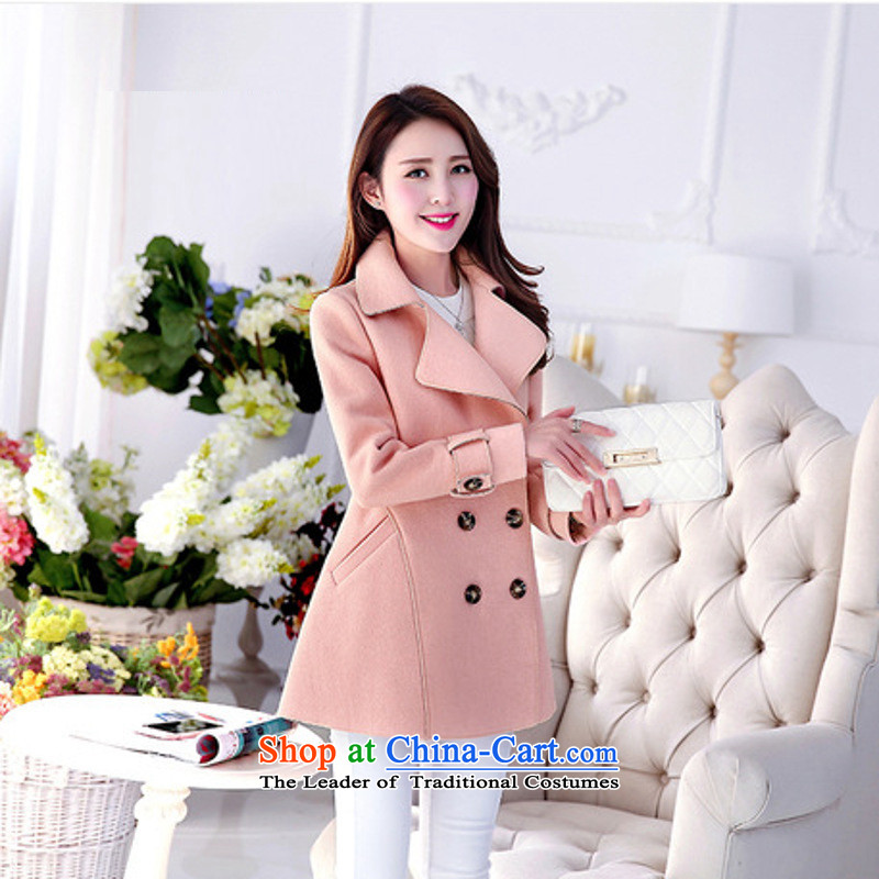 Sin has聽loaded the autumn and winter 2015 new Korean citizenry Sau San Solid Color cloak gross flows of female jacket coat? pink聽M