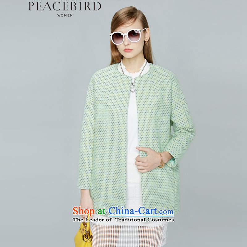Women Peacebird 2015 winter clothing new products on the one hand a long coat A3AA44112 GREEN M