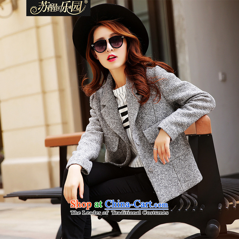 The Paradise 2015 winter new Korean long-sleeved jacket for the winter loose hair? Jacket Gray?L