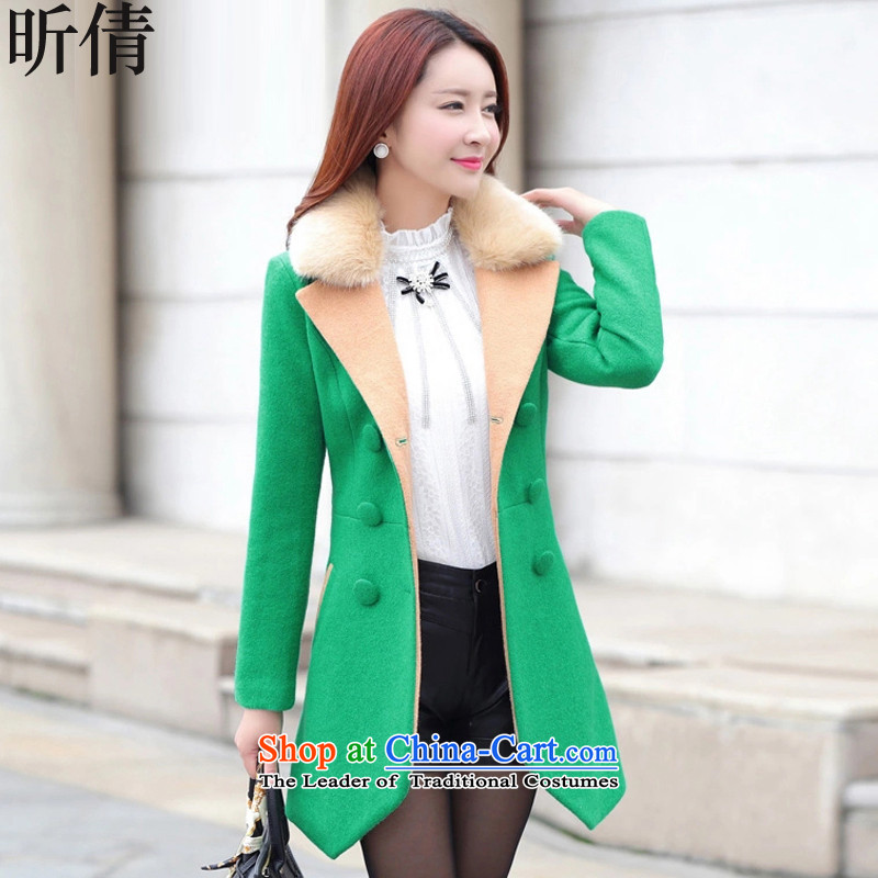 Xin Qian 2015 autumn and winter female new coats_? female double-color spell long suit for Sau San? What Gross Gross coats female jacket W9888 GREEN燤