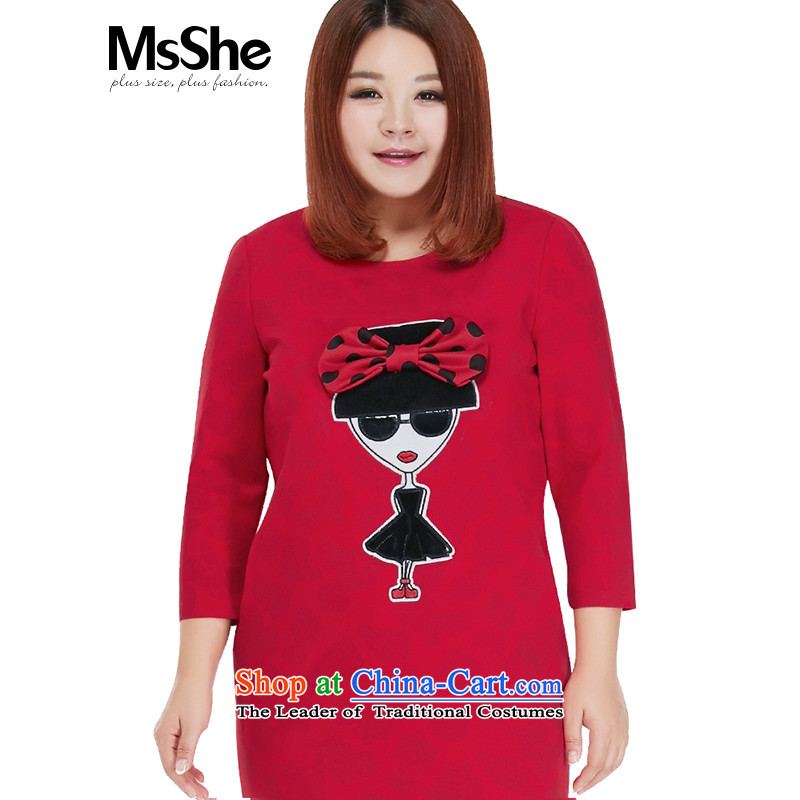 To increase the number msshe women 2015 new autumn replacing thick mm round-neck collar graphics slender skirt the Netherlands Red 10308 Red燲L