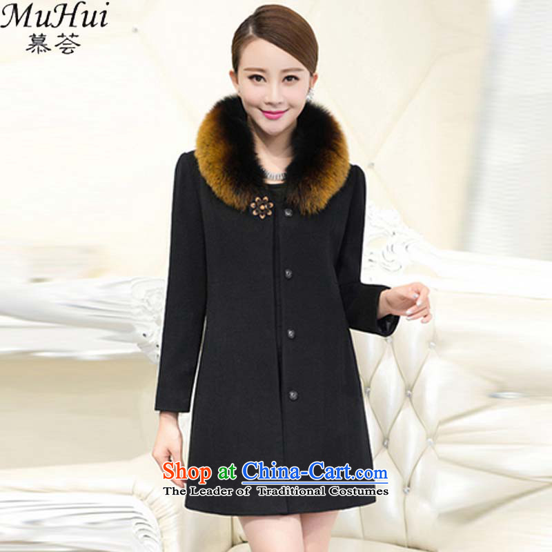 The aloe vera 2015 new autumn and winter large middle-aged women cashmere overcoat girl in gross? Long Fox for Sau San Mao Mao jacket girl mothers load? 725 Black燲XXXL