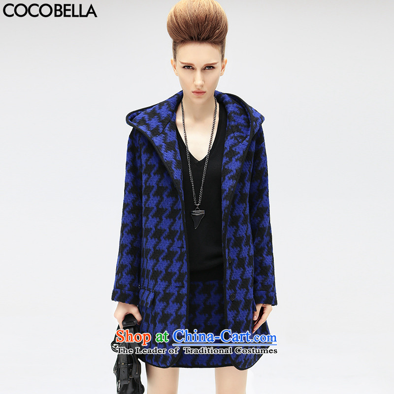 Cocobella 2015 autumn and winter new liberal chidori grid in female plush coat CT315? blue chidori grid聽M