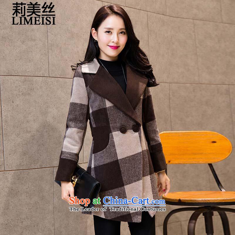 Li Mei wool coat women 2015? autumn and winter new graphics in Sau San thin long latticed wool a wool coat larger windbreaker coffee latticed燲L