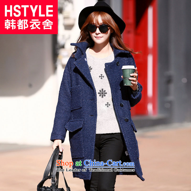 Korea has the Korean version of the Dag Hammarskjöld yi 2015 winter clothing in new women's long straight thin hair? jacket graphics NW50012 Blue S