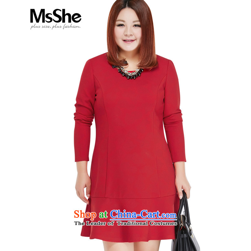 Large msshe women 2015 new fall thick MM round-neck collar crowsfoot skirt long-sleeved dresses � 10303 Red�L Sau San Red