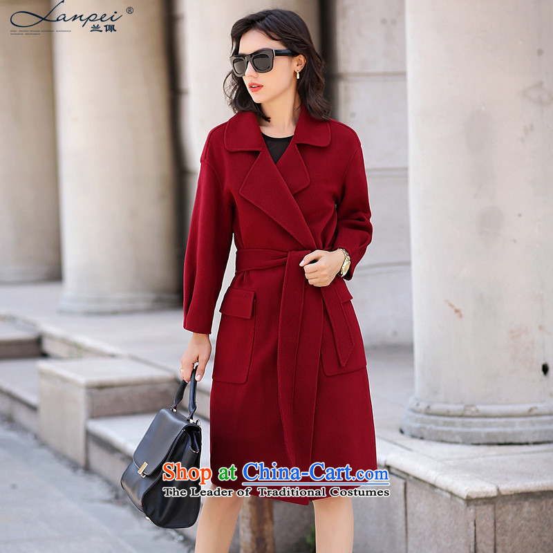 Estimated 2015 Autumn Load New Pei_ sided flannel woolen coat women's gross?? graphics thin coat duplex gross female wine red jacket? M