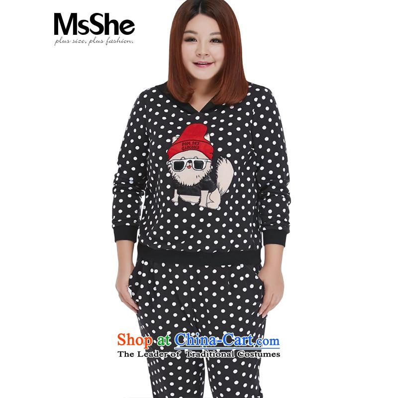 Msshe xl women 2015 new fall thick sister casual stylish replacing sweater pants two kits 10560 Black Spots 3XL