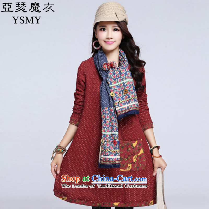 Arthur magic yi 2015 Autumn replacing large new long-sleeved blouses and dresses Korean Wave point plus cotton waffle. long skirt autumn RED M