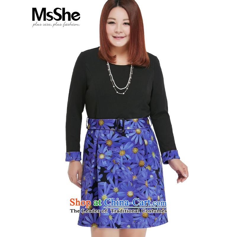 Msshe xl women 2015 new 200 catties autumn replacing sweet stamp Sau San long-sleeved dresses 10318 Black blue flowers2XL