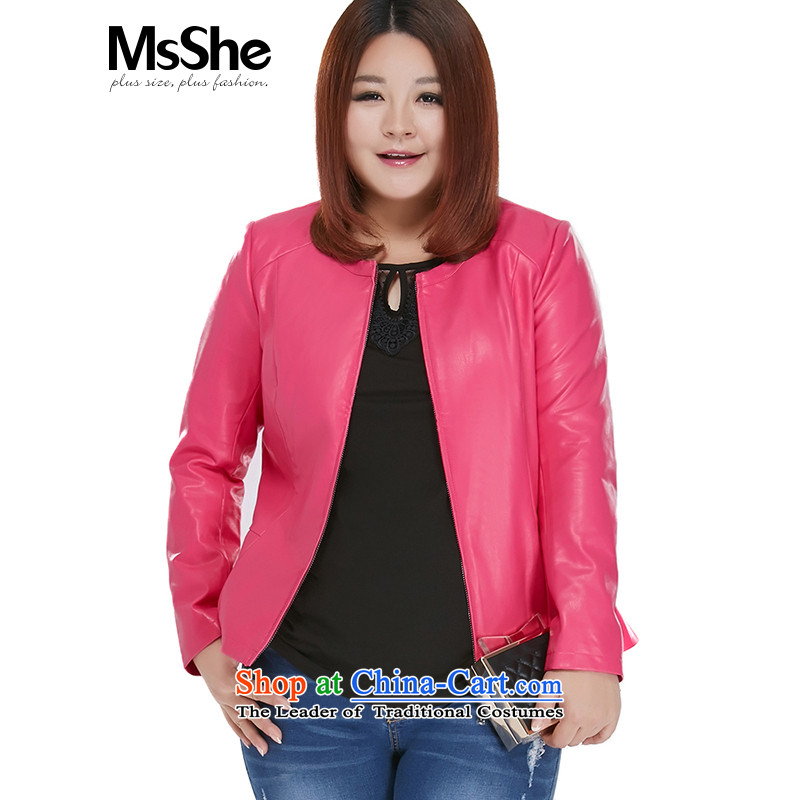 Large msshe women 2015 new fall inside the locomotive of Sau San PU MM thick leather garments, 10013 Red聽3XL