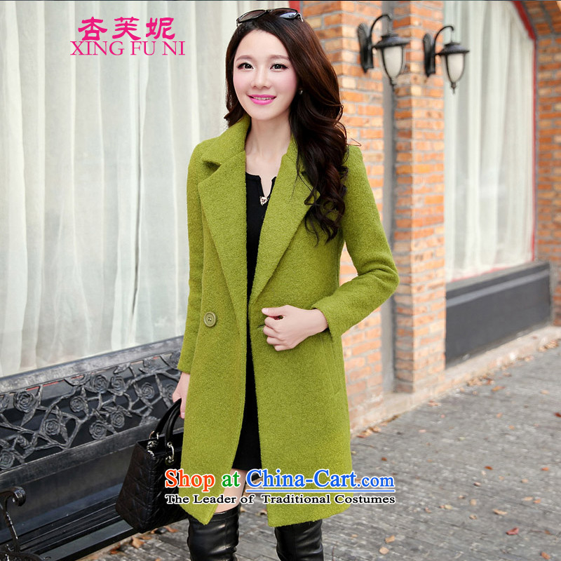 All Daphne gross? 2015 autumn and winter coats girl with the new Korean version of long coats_? female fruit green M_95 catty -110 catties_