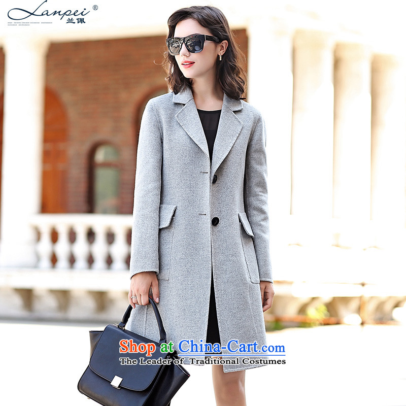 In the autumn of 2015, the new Pei woolen coats female Sau San? In long double-side gross jacket Gray L?
