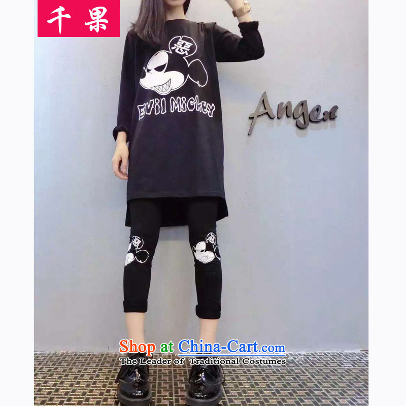 Thousands of fruit fall to replace xl loose video kit 200 catties thin extra-thick MM medium to long term, T-shirts, forming the trousers sport and leisure suite 5999 Black3XL140-160 around 922.747